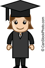 Graduate Girl - Drawing Art of Cute Cartoon Young Pretty...