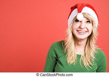 Beautiful santa girl - A beautiful caucasian girl wearing...
