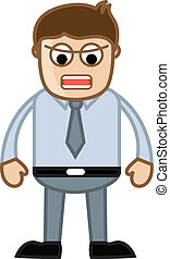 Annoying Boss - Business Cartoon - Drawing Art of Angry...