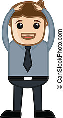Hands on Head - Business Cartoon - Drawing Art of Young...