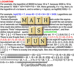 Math is fun abstract - with crossword puzzle illustration...