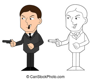 Mafia guy cartoon - Mobster with gun illustration, coloring...