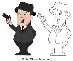 Happy mafia guy cartoon