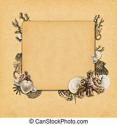 Vintage background design with shells