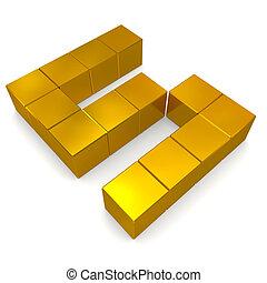 number 5 cubic golden