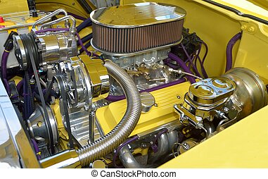 Customized Car Engine - Vibrant yellow customized car engine