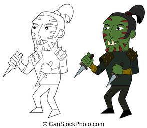 Orc assasin cartoon - Orcish assasin holding daggers...