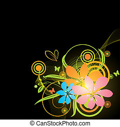 Black background with bright colorful flowers