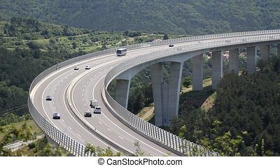 Cars on a bridge - Fluid traffic on a bridge of a slovenian...