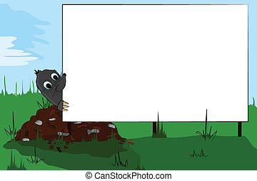 Mole looking at a billboard - Mole on molehill looking at a...