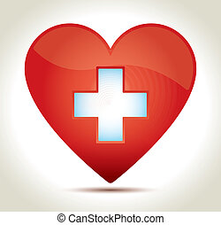 heart-red-cross - Glossy red heart with white cross and...