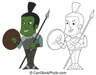 Orc fighter cartoon - Orcish warrior with a spear and small...