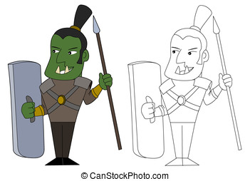 Orc fighter cartoon - Orcish warrior with a spear and long...