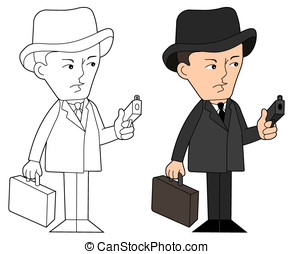 Mafia guy cartoon - Mobster with gun and suitcase, coloring...