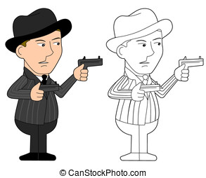 Mafia guy cartoon - Mobster holding revolvers illustration,...