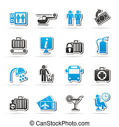 Airport and travel icons - Airport, travel and...