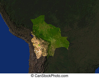 Bolivia - Computer Render Of Bolivia Highlighted