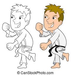 Karatist in action cartoon - Karate kid illustration,...