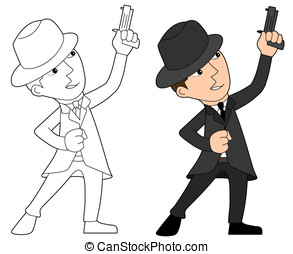 Mafia guy cartoon - Mobster holding a revolver illustration,...