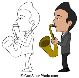 Saxophonist cartoon - Saxophone player, illustration,...