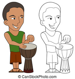 Cartoon percussionist - Cartoon drum player illustration,...