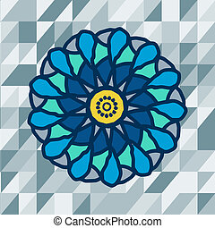 mandala with text on blue background. Vector image.