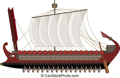 Roman war ship cartoon - Illustration of ancient Rome...