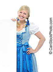 girl in dirndl with ad space
