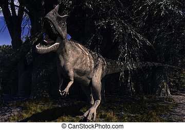 Ceratosaurus Dinosaur - Computer Generated Image Of A...