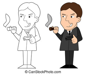 Mafia guy cartoon - Illustration and line-art of gangster...