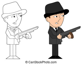 Mafia guy cartoon - Gangster holding a tommy gun,...