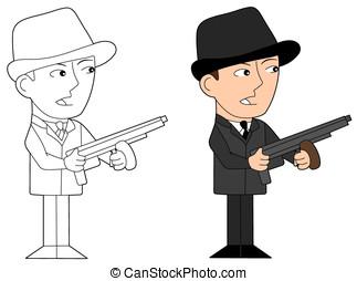 Mafia guy cartoon - Gangster holding a tommy gun,...