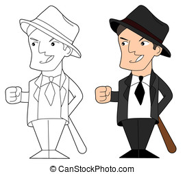 Mafia guy cartoon - Gangster holding a baseball bat,...