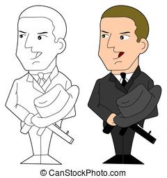 mafia, tipo, caricatura