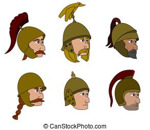soldats, Ancien, dessins animés,  faces