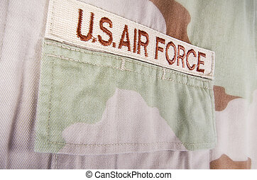 Camouflage desert uniform - Closeup of US Air Force...