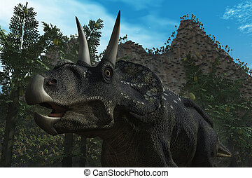 Diceratops Dinosaur - Computer Generated Image Of A...