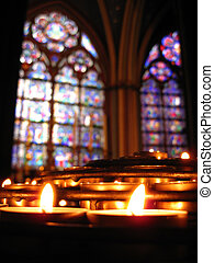 Notre Dame Prayer Candles and Stained Glass - Prayer candles...