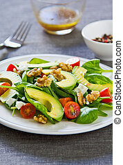 Avocado with Spinach and Feta salad - Avocado with Spinach,...