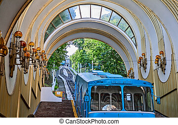 Funicular system from Podol to the Upper city in Kyiv. -...