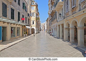 Old town of Corfu island in Greece - The Piazza at the old...