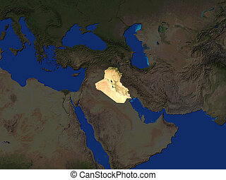Iraq  - Computer Render Of Iraq Highlighted