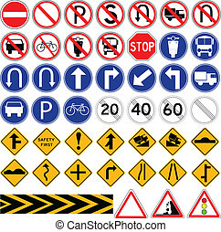 Set of Simple Traffic Sign, isolated on white