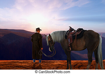 Daybreak - A cowboy stands on a high plateau with his cow...