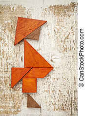 tangram fat man - obesity concept - abstract figure of a fat...