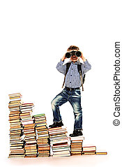 look for prospects - A boy climbing the stairs of books and...