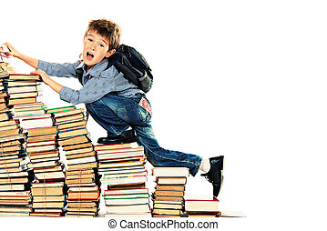 progress - A boy climbing the stairs of books Education...