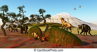 Saber Toothed Cat Family - A family of Saber Toothed Tigers...