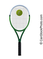 Tennis Racket with Ball - A single green and white tennis...