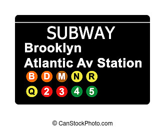 Brooklyn Atlantic Avenue Station subway sign isolated on...